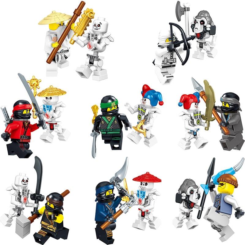 NEW HOT Skeleton soldiers Ninja figures Lot Kai Jay Cole Zane Lloyd Ninja Bricks Toys compatible Ninjagoinglys Legoinglys кресло мешок dreambag comfort cherry экокожа
