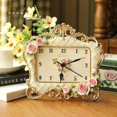 Desk Clocks Alarm Table Director Crafts Projection Desktop Digital Vintage Retro Mute Frame Resin Creative Vintage Rose