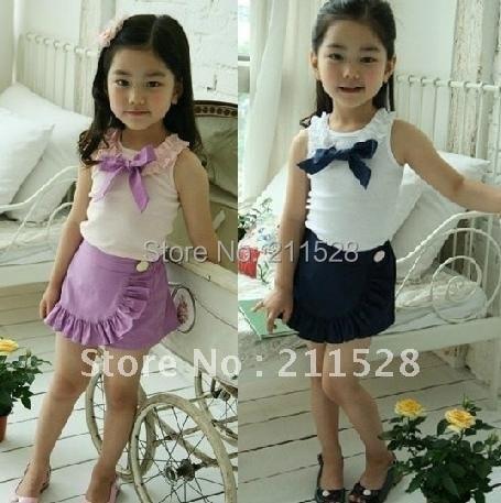 "Wholesale Summer Childrens girls suit kids clothing sets "" girl Bowknot vest + girls pantskiet "" cotton clothes"