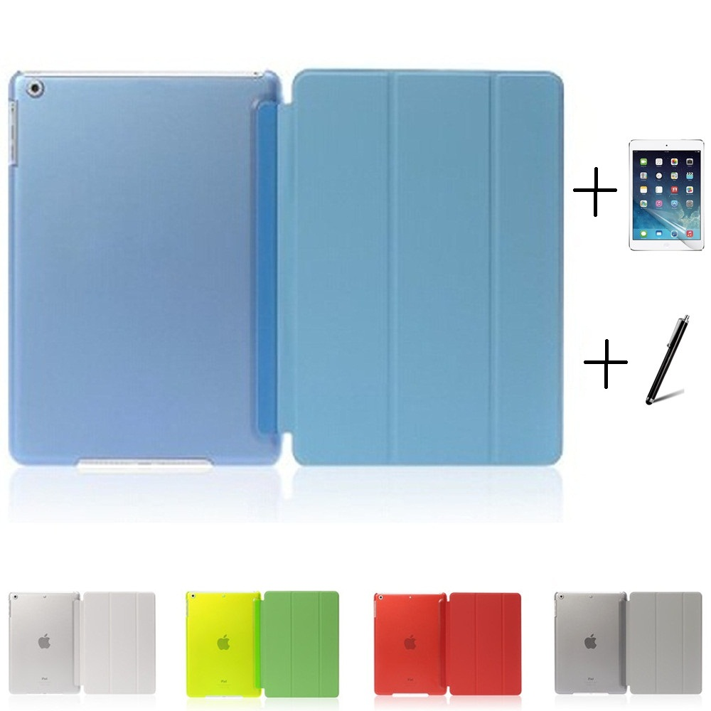 Ultra Slim Three Fold PU Leather with Crystal Hard Back Smart Stand Case Cover for iPad