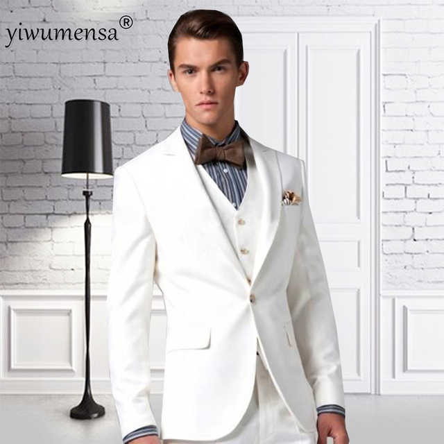 Ywms 47 Hochzeitsanzug Pure White Suit With Blue Vertical Striped