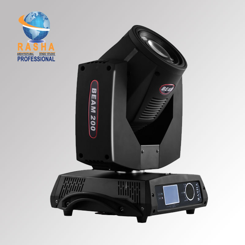 Rasha HOT SALE High Quality 200W 5R 16 Channel Moving Head Beam With Touch Screen LCD Display,Stage Moving Head Light