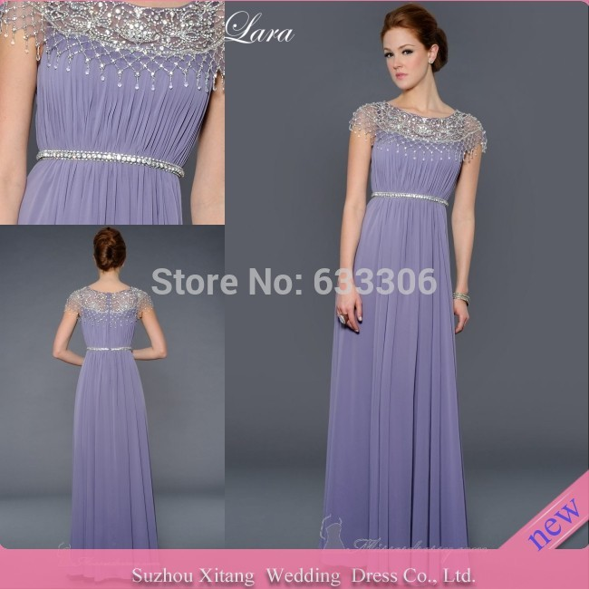 Vestido De Fiesta Purple Elegant A-line O-Neck Beaded Chiffon Floor length evening dresses Gown - Cloudup store