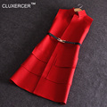 CLUXERCER Brand Women Black Red Long Woolen Vest Coat Europen Style Waistcoat Sleeveless Jacket Outwear Top Vest Roupa Female