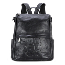 YILIAN backpack female leisure 2018 The fashion Pure color Head layer cowhide alphabet bag 966