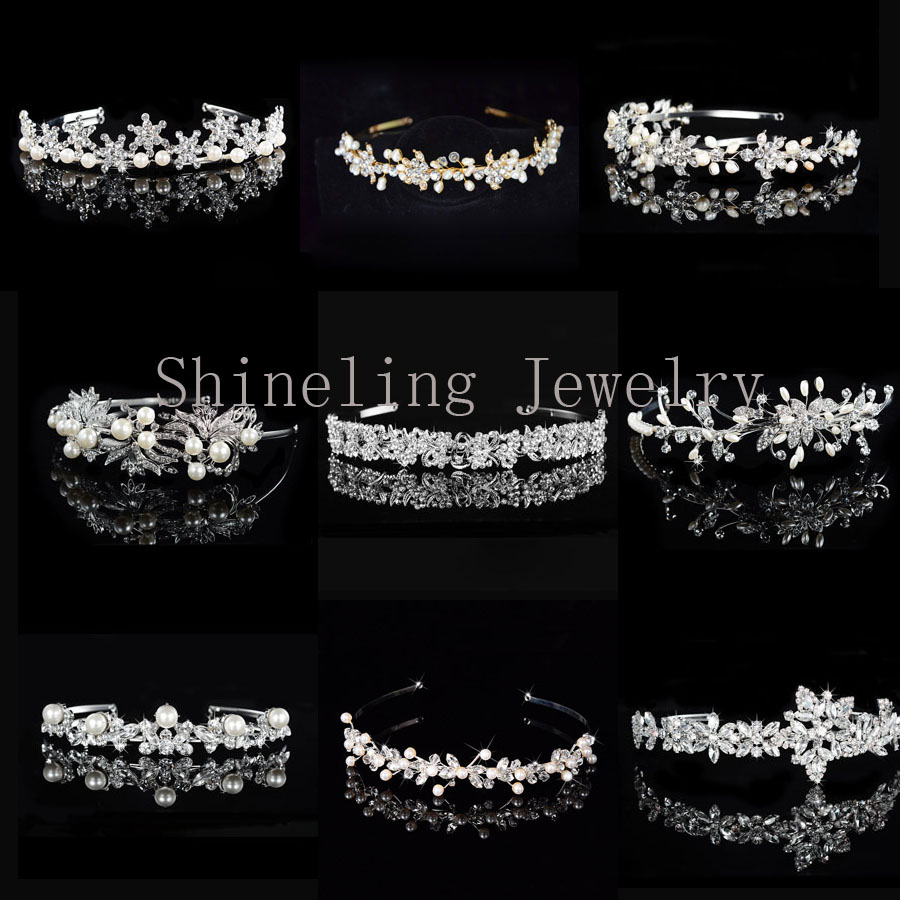 SLBRIDAL Alloy Wedding Tiara Rhinestones Headband Crystal Bridal Crown Headpiece Pearls Wedding Hair accessories Women Jewelry