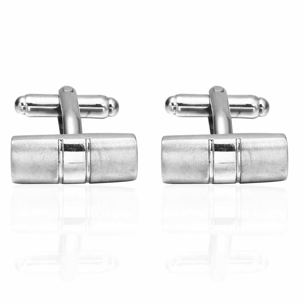Trendy Şerit Kol Düğmeleri Gümüş Katı Renk Kol Düğmeleri Zarif Hediyeler Erkek Moda Kol Düğmeleri erkekler için iş gömleği Kol Düğmesi