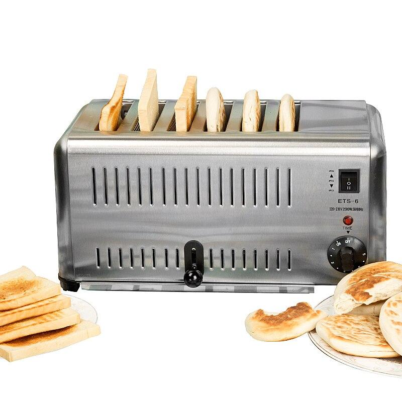 6 fentes ménage petit déjeuner grille-pain Commercial grille-pain petit-déjeuner Assistant grille-pain complet en acier inoxydable Toast four ETS-6