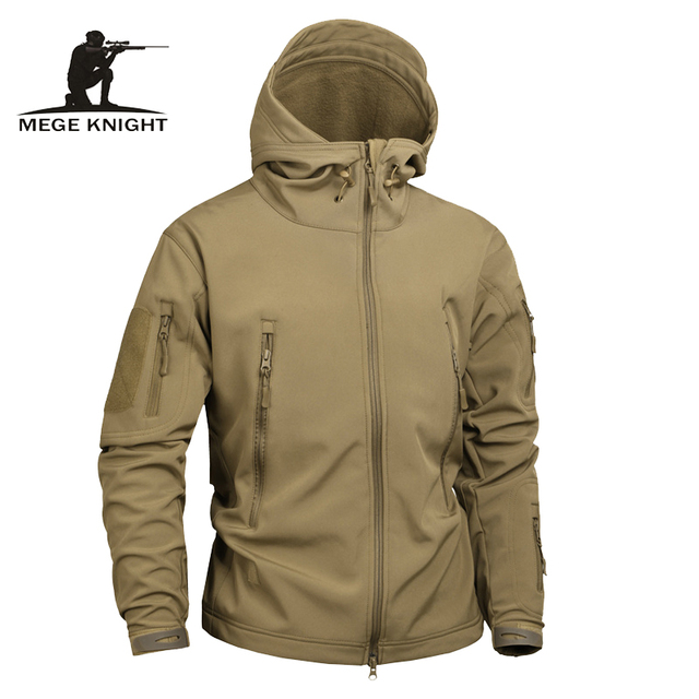 Mege Brand Solid color Tactical Men Sharkskin Softshell Autumn Winter Outerwear, Military Clothing Jacket US Army Jacket Coat