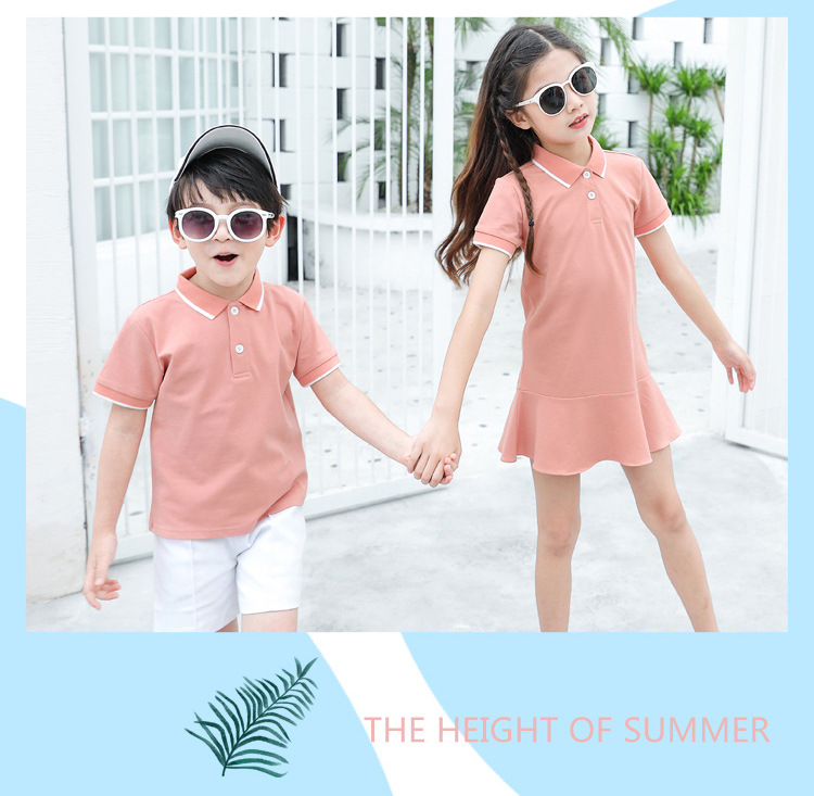 HTB1Tb96XrY1gK0jSZTEq6xDQVXax - family matching outfits summer Polo shirt mother daughter matching dresses dad son turn down collar family couple clothes