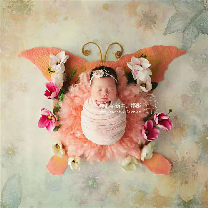 Butterfly Photo backdrop Natural Wool Felted Layer Newborn Photography Wool layer background Baby blanket photo props