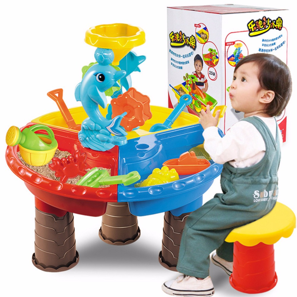 Haute qualité Enfants En Plastique Bac à Sable Ensemble Plage De Sable Eau De Table Jouer Jouet Sable En Plein Air Jouets de Plage Pour Enfants cadeaux