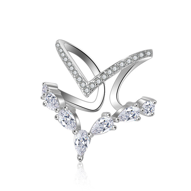 Hot Sale Wholesale New Fashion Super Shiny Zircon Design 925 Sterling Silver Adj