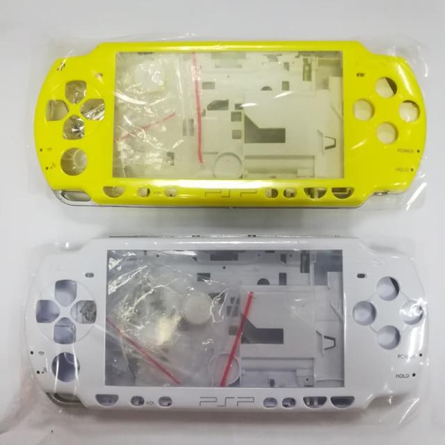 الأصفر الأبيض كريستال اللون ل PSP 2000 PSP2000 لعبة وحدة التحكم استبدال كامل الإسكان شل الغلاف مع أزرار عدة