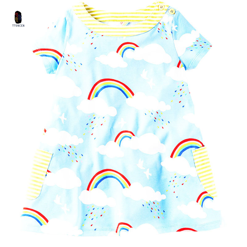 New 2017 Summer Baby Girls rainbow cloud  pattern Princess Dress cartoon vestido Dress cotton clothes for 2 T-10T birthday gift