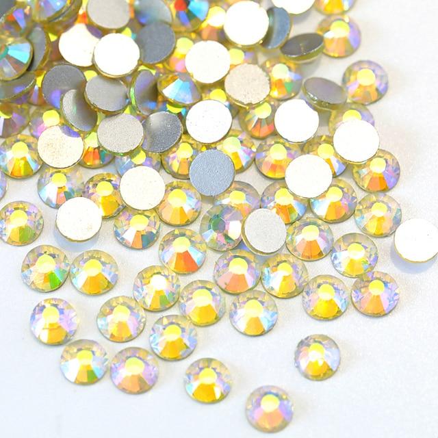 Jonquil AB Rhinestone Nail Art Decorations Glass Strass Flatback Non Hotfix  Rhinestones For 3D DIY Nails Need Glue On F0001 e2f5e1ed16f4