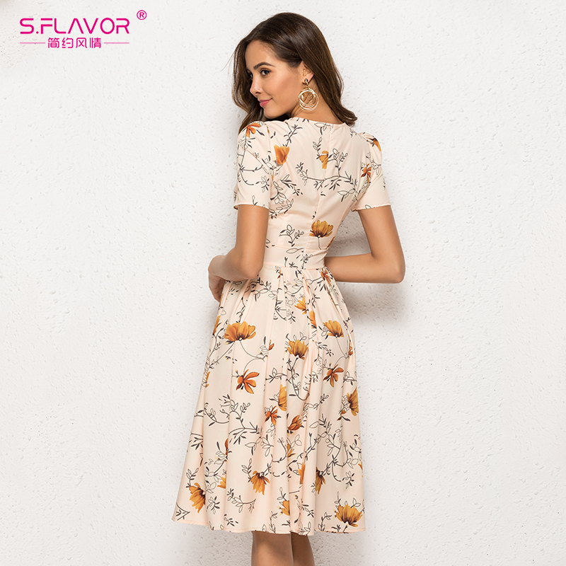 S.FLAVOR Casual Women Dress Slim Vintage O Neck Floral Printed A Line Dress Female Short Sleeve Elegant Party Vestidos