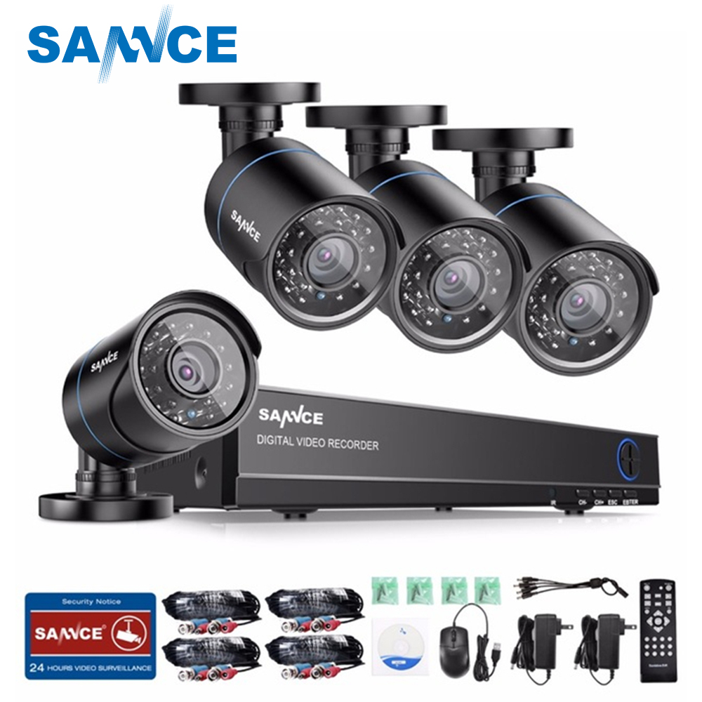 SANNCE 4CH 720P CCTV System 1080P HDMI DVR Kit 4PCS 720P 1.0MP Security Cameras 1200TVL Video Surveillance System 1TB HDD sannce 4 channel 720p dvr cctv camera system 2pcs 1200tvl 720p ir outdoor security camera system surveillance kit 1tb hdd