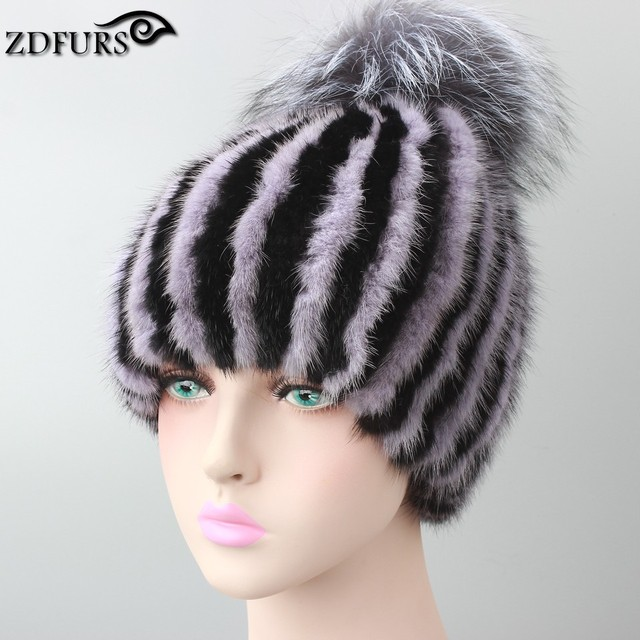 Hot sale real mink fur hat for women winter knitted mink fur beanies cap with fox fur pom poms brand new thick female cap