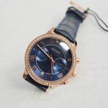 2016 Nuevas Mujeres de la Llegada Calendario Relojes de Lujo Reloj de Cuarzo Rhinestone Dark Blue Dial Relojes de pulsera de Cuero Genuino