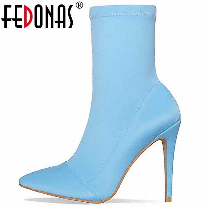 FEDONAS Fashion Brand Sexy Women Thin High Heels Party Shoes Woman Pointed Toe Zipper Mid calf