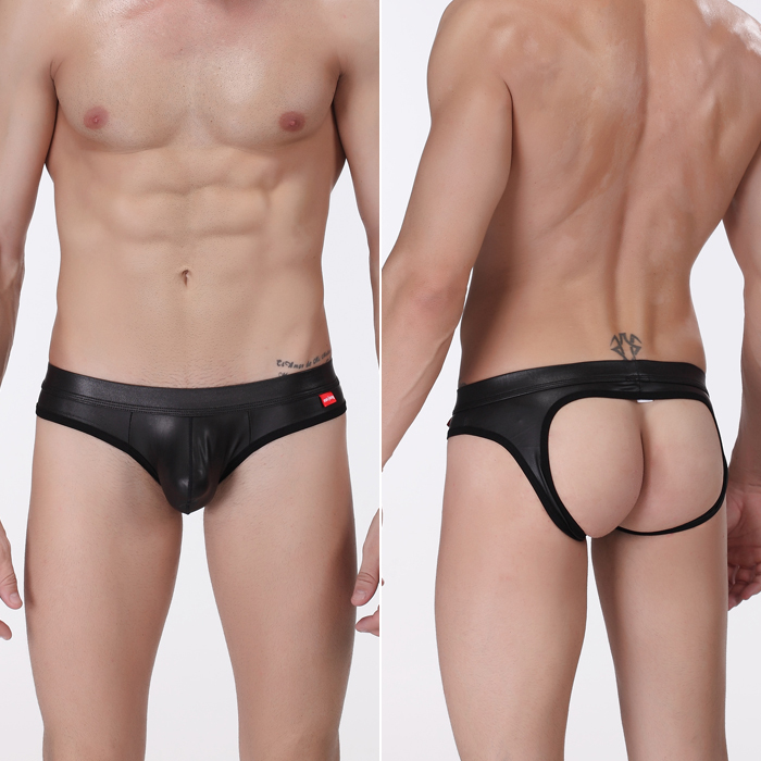 Men s Low Rise Underwear Shorts Sexy Open Back Briefs Men s Jockstrap  Thongs Faux Leather Underwear S M L   A5024 3f4f8705c