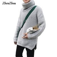 Solid Casual Sweater Men Pullover Long 2017 Fashion Autumn Winter Christmas Sweater Men Turtleneck M XXL