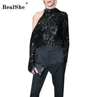 RealShe 2018 Woman Sequins T Shirt Sexy One Shoulder Tops Long Sleeve Slim T Shirt Party