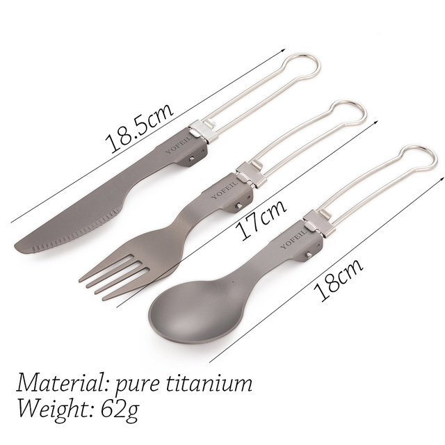 High quality titanium alloy folding knife and fork spoon ultra light pure titanium outdoor camping tableware picnic equipment 2