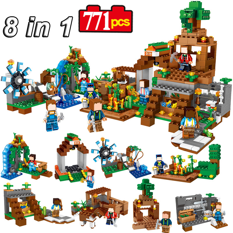 8 Sets/lot  Minecrafted Manor My World Model Building Puzzle Blocks Bricks Set Assembly Legoed Toys Gift  For Kids #E dayan gem vi cube speed puzzle magic cubes educational game toys gift for children kids grownups