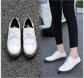 2017 ПУ Кожа Большой Размер Девушку 34-43 Дизайнер Старинные Плоские Туфли Круглый Носок Белый Криперс Оксфорд Обувь Для женщины
