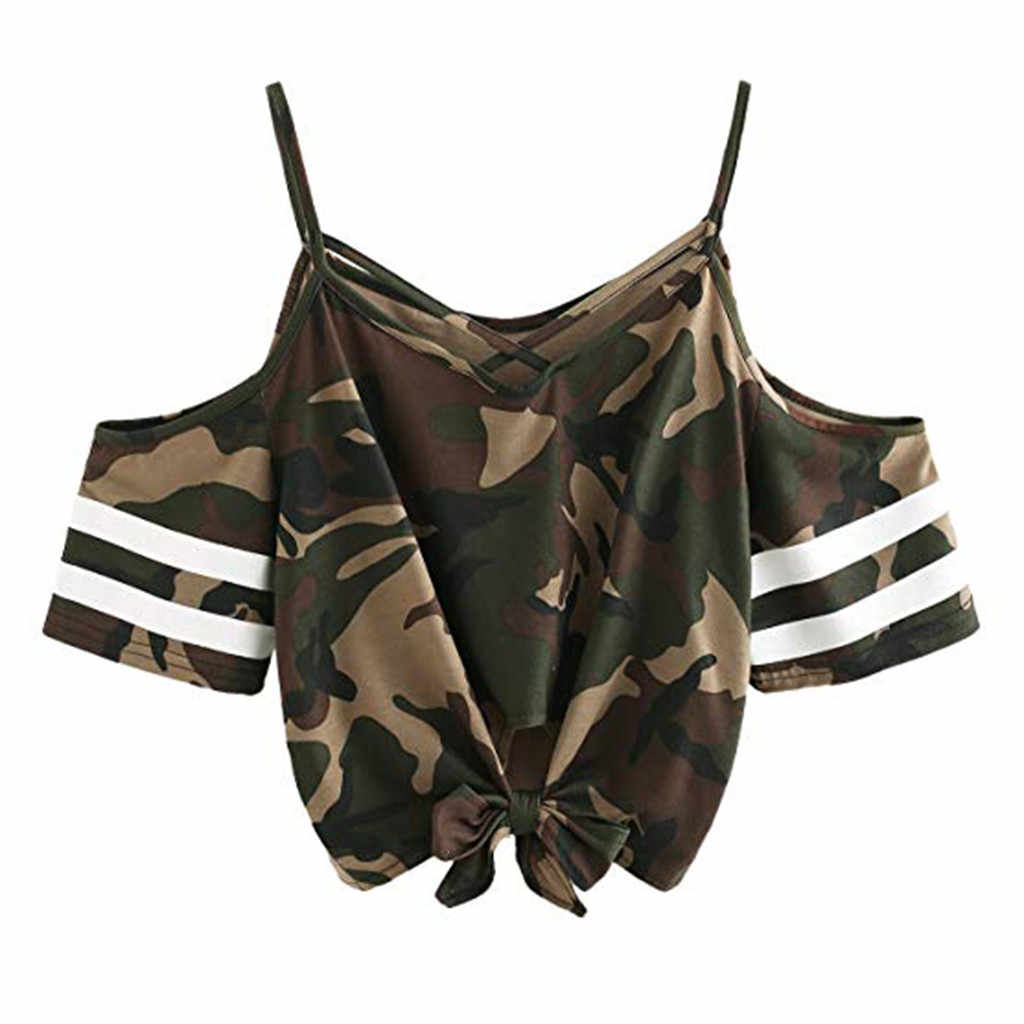 Camouflage T Shirt Women Korean Clothes 2019 Cold Shoulder Tops Striped Tee Shirt Femme Tops Streetwear T-Shirt Women Shirts