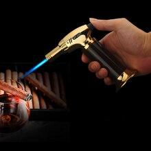 Открытый Зажигалка для барбекю зажигалка для сигар турбо Зажигалка Jet бутановые зажигалки сигарета 1300 C пистолет ветрозащитный металла бумажный жгут для зажигания трубки для Кухня