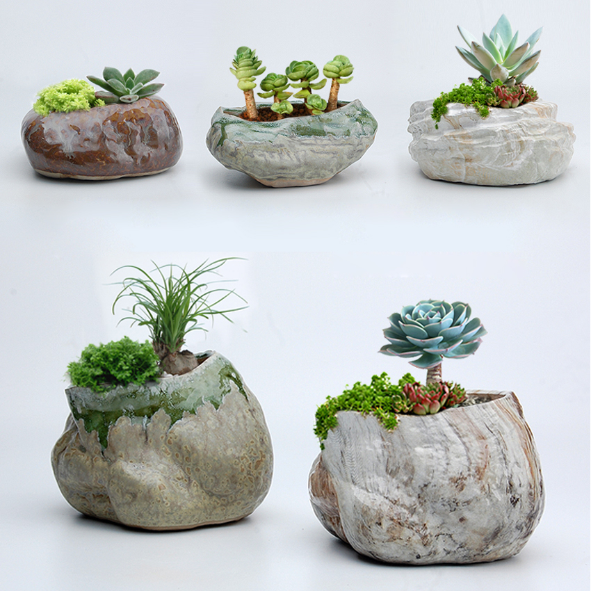 225 & US $10.51 9% OFF Porcelain flower vases desktop flower pots plants home decor table vases artificial stone vases creative Stone flowerpot-in Vases ...
