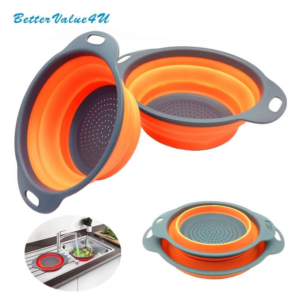 Bettervalue4u Collapisble de Qualité Alimentaire Silicone Passoire Passoire Pack 2 (8 et 9.3) lave-vaisselle Coffre-Fort Utile Outil pour la Cuisine