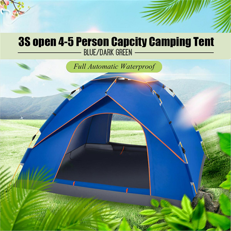 High Quality Blue Dark green4-5 Person Capcity Full Automatic Waterproof Camping Tent Outdoor Camping Hiking Tent high quality outdoor 2 person camping tent double layer aluminum rod ultralight tent with snow skirt oneroad windsnow 2 plus