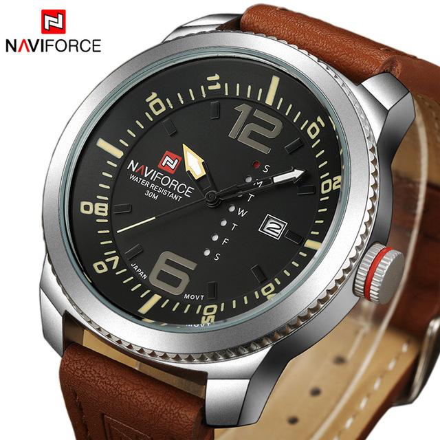 Hot Marca NAVIFORCE Militar Homens de Luxo Relógios de Quartzo Analógico Relógio de Couro Da Moda Esportes Relógios Relógio Do Exército Relogios Masculino