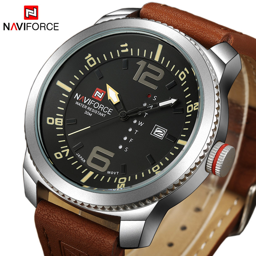 NAVIFORCE Top Brand Luxury Fashion Casual Leather Men Watch Quartz Analog Date Clock Military Sports Watches Relogios Masculino men leather strap watch sports military quartz fashion wristwatch casual analog relogioes round dial wholesale top quality clock