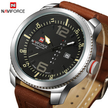 NAVIFORCE Top Brand Luxury Fashion Casual Leather Men Watch Quartz Analog Date Clock Military Sports Watches