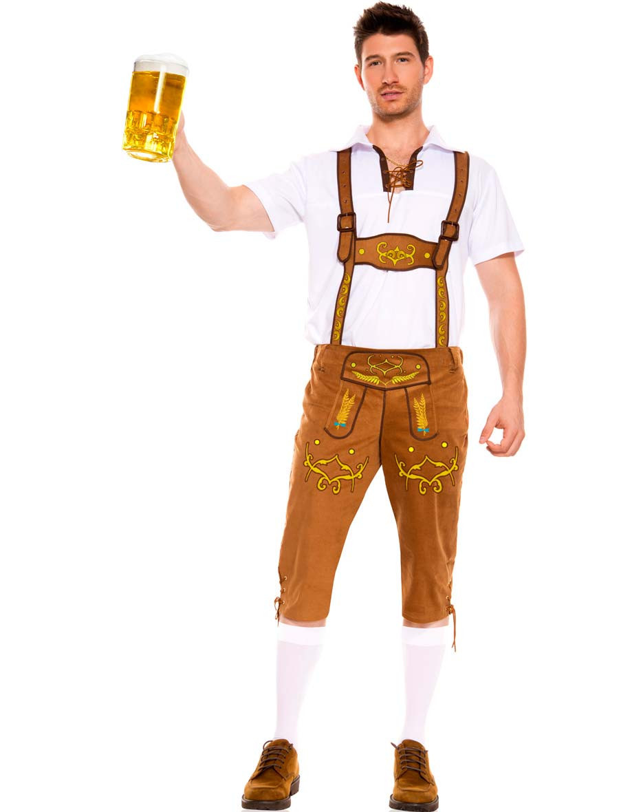 Mens Oktoberfest Outfit Lederhosen Beer Festival Fancy Dress Guy German Costume