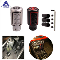 SMKJ Newest Auto Manually Aluninum Head Gear Shift Knob Universal Car Interior Parts Metal Gear Lever Gear Stick Shift Knob