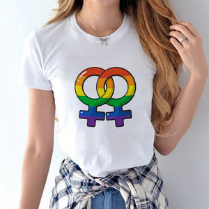 Gay Half Sleeve T-shirt 2019 Summer New Proud Rainbow Women's Short-sleeved Lovers Dress Shirt Shirt Harajuku T-shirthirt
