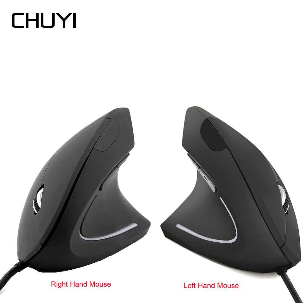 CHUYI Right Left Hand Vertical Mouse Ergonomic Bracers Healthy Wired Mouse USB Optical Computer Mice With