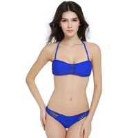2016 Sexy Bandeau Bikini Set Retro Women Solid Bandage Swimsuit Strappy Swimwear Brazilian Biquini Fashion Bathing