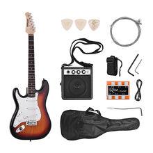 Ammoon-guitarra eléctrica de madera maciza para zurdos, 21 trastes, 6 cuerdas con altavoz, diapasón funda de guitarra, púas de correa