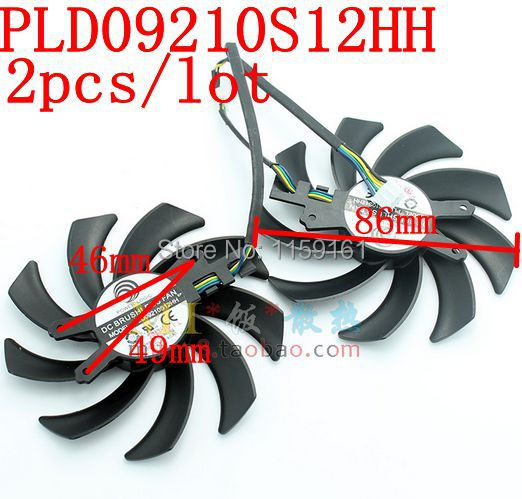 Free Shipping 2pcs/lot New GALAXY GTX760 will be black PLD09210S12HH 86mm  graphics card fan computador cooling fan replacement for msi twin frozr ii r7770 hd 7770 n460 n560 gtx graphics video card fans pld08010s12hh