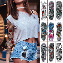 Large Arm Sleeve Tattoo Sculpture Angel Waterproof Temporary Sticker Rose Butterfly Pigeon Men Holy Skull Tatoo Women