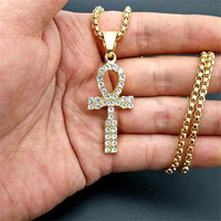 Egyptian Neck Ankh Cross Pendant Necklace For Woman/Men Hip Hop Iced Out Rhinestones Stainless Steel Egypt Hieroglyphics Jewelry