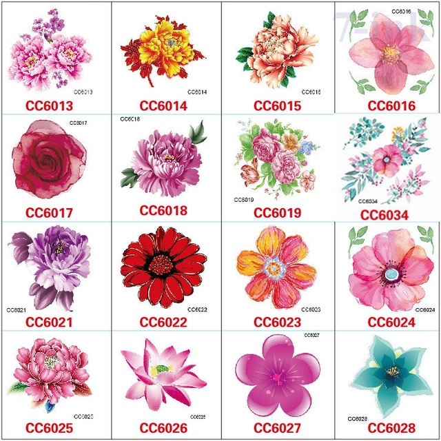 24 Diseño Color Poco Flores Tatoo Rosa Durazno Peonía Tatuajes