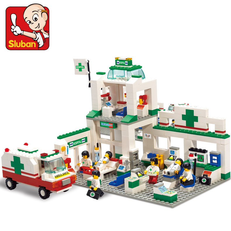 model building kits compatible with font b lego b font city hospital 646 3D blocks Educational